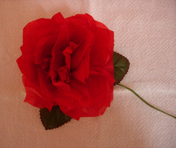 Red Rose Tissue Paper Flower