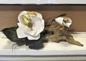 Magnolia and Driftwood Arrangement Front View